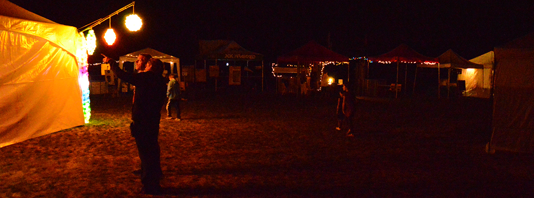 Night time festival grounds